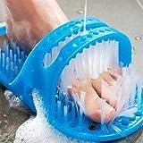 Nettoyant de pied de douche, pantoufles de masseur de brosse de douche de chaussure en plastique de bain, brosses bleues d'ép