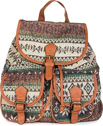 styleBREAKER Rucksack Handtasche mit trendigem Ethno Muster, Boho Style, Tasche, Unisex 02012122, Farbe:Beige-Grün-Orange Beige-Violett-Petrol