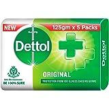 Dettol Original Germ Protection Bathing Soap bar, 125gm (Pack of 5)