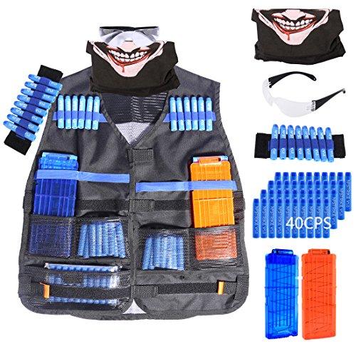 ANNA SHOP Zubehör Set Kit für Nerf, Taktische Weste 40 Darts Soft Bullet , 2er Clip Magazin und Gesichtsmaske, Schutzbrille Brille, Armband Zubehör für Nerf N-Strike Elite Series