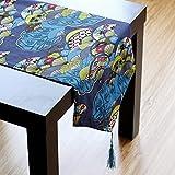 Yazi Lino y Algodón Camino de mesa Mantel de Estilo étnico de ventilador Pattern Decoración del hogar azul 30x 220cm
