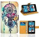 Nokia Lumia 520 Housse Coque, FoneExpert Etui Housse Coque en Cuir Portefeuille Wallet Case Cover pour Nokia Lumia 520