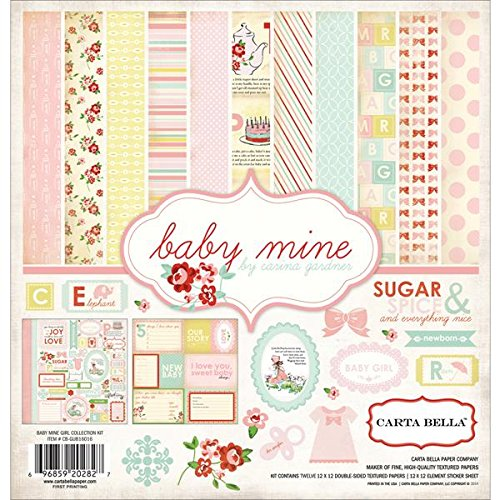 Echo Park Paper Carta Bella Collection Kit 12 Zoll x 12 Zoll, Baby Mine/Girl La Carte-origami