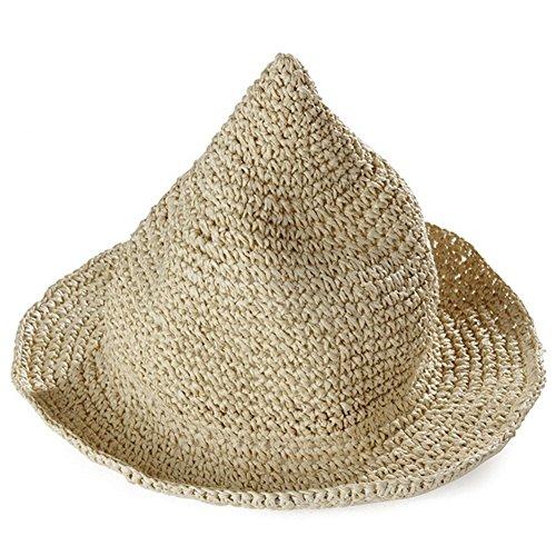 Leisial Kinder Hexe Spitzhut Frühling Sommer Sonnenhüte Strohhut Fischhut für Mädchen und Junge,Beige