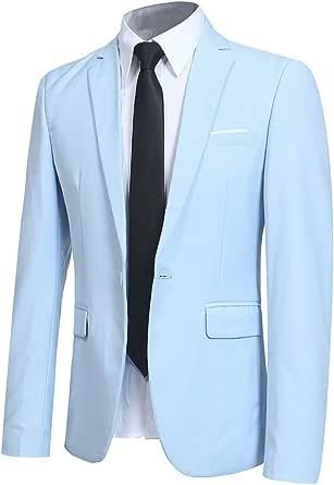 Allthemen Blazer Casual da Uomo Slim Fit Formale Suit Giacche One Button Monopetto Tuxedo Giacca Smart Blazer