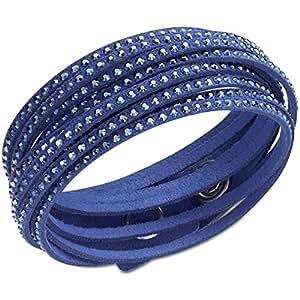swarovski damen armband leder glas blau 36 cm 5037393. Black Bedroom Furniture Sets. Home Design Ideas