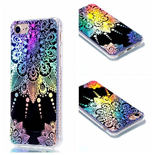 Apple iPhone 8 4.7 Hülle, Voguecase Schutzhülle / Case / Cover / Hülle / Plating TPU Gel Skin (Transparente-Rot Blume/Schmetterling 10) + Gratis Universal Eingabestift Schwarz-Bunt Teppich 09