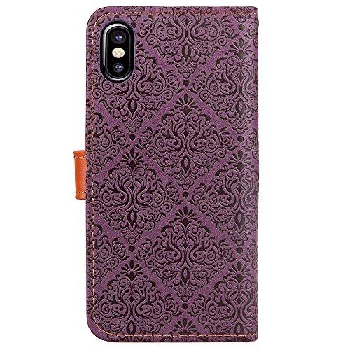 European Mural Pattern Luxus Retro PU Leder Geldbörse Tasche Tasche mit Geared Echtleder Niet Gürtelschnalle & Kickstand für IPhone X ( Color : Light brown ) Purple