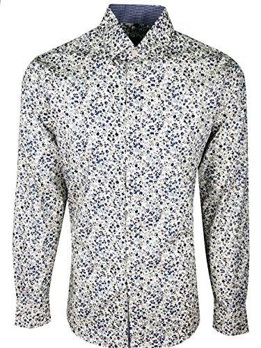 Dominic Stefano Herren Blume Smart Luxus Freizeithemd Blume Style Hochzeitskleid Hemd 405 - Creme, S