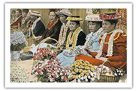 Lei Vendors - Honolulu, Th (Territorium Von Hawaii) - Alte Hawaiianischer Farbe Postkarte c.1920s - Premium 290gsm Giclée Kunstdruck - 61cm x 91cm