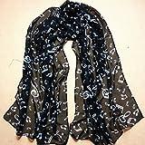 DDLBiz® Sciarpe delle Donne della Signora della Nota Musicale Chiffon Sciarpa al Collo Scialle Marmitta (Nero)