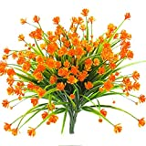 Never ending Künstliche künstliche Blumen, 4 Bündel für den Außenbereich, UV-beständig, Sträucher, Pflanzen drinnen und draußen, hängend, für den Garten Orange