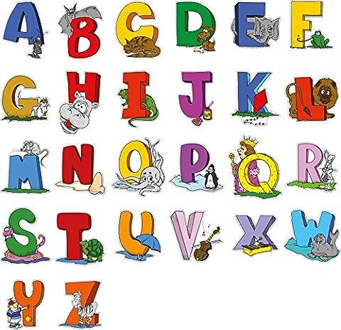Autocollant mural éducatif Animal Lettres alphabet anglais - Adorable ensemble de 26 décalcomanies pour décorer les murs dans la chambre des enfants et des enfants - attractif et drôle outil d'apprentissage pour les jeunes enfants