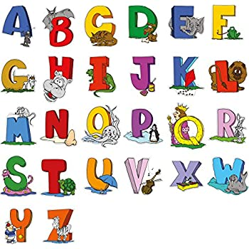 Childrens A Z Alphabet 3D Animal Wall Stickers for Boys or Girls