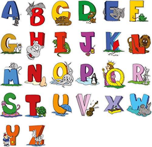 Pädagogische Wandaufkleber Tier Alphabet Kunst Buchstaben - Adorable Set von 26 ABC Letter Decals, um die Wände in Kinderzimmer und Kinder Zimmer - Attraktive und lustige Lern-Tool für kreative junge Kinder (Groß) (Blumen-wand-tasche)