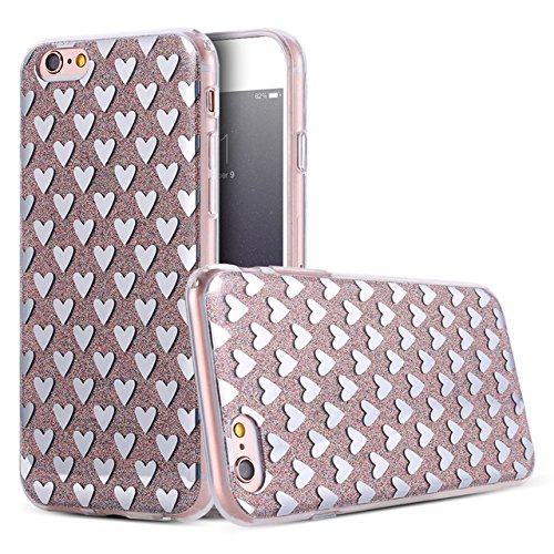 Phone Kandy® Transparente Seiten TPU Funkeln Bling Silikon-Gel-Kasten-Abdeckung Hülle (iPhone 6 6s, Silberne Herzen) (Iphone 6 Telefon-kasten-designer)