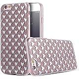 Phone Kandy® La caja del gel de silicona transparente de los lados de TPU de Bling del brillo carcasa funda (iPhone 6 6s (4.7 pulgadas), Corazones de plata)