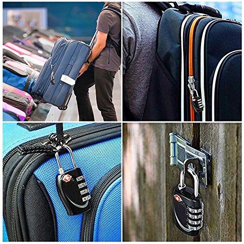 2 x Travel Buddy TSA Security Padlock - 4-dial Combination Code Lock - BLACK