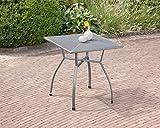 greemotion Tisch Toulouse eisengrau, quadratischer Gartentisch aus kunststoffummanteltem Stahl, Tisch mit Niveauregulierung, witterungsbeständig und pflegeleicht
