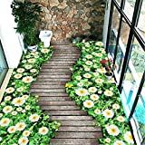Hwhz Benutzerdefinierte Boden Wandbild Tapete Blumen Holz Brett Kleine Straße 3D Bodenbelag Wohnzimmer Schlafzimmer Balkon Pvc Boden Aufkleber Wohnkultur-250X237Cm