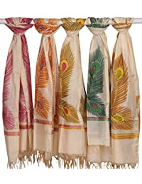 Exotic India Lot Of Five Dupattas From Banaras With Printed Peacock - Off-White