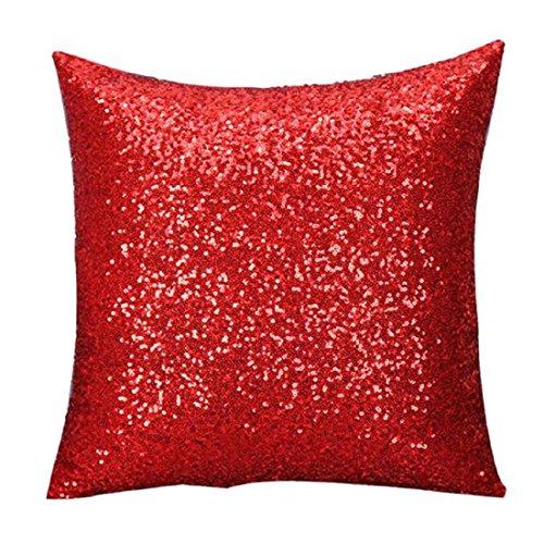 Foto Werfen (Kissenbezug, KEERADS Vollfarb-Glitzer Pailletten werfen Cafe Hausdekor Kissenbezüge (Rot))
