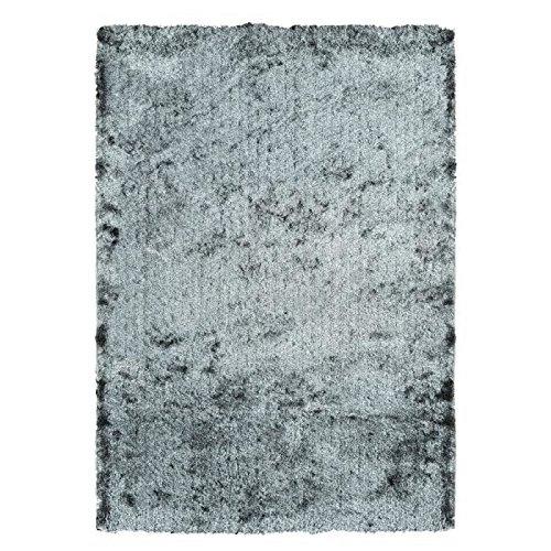 Générique Lucia Tapis de Salon Shaggy Fil Fin Brillant 100% Polyester- meches 40 mm- 160x230 cm Gris