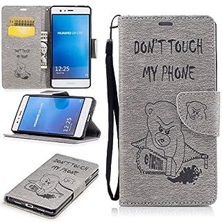 LMAZWUFULM Hülle für Huawei P9 lite/VNS-L31 5,2 Zoll PU Leder Magnet Brieftasche Lederhülle Bär Geprägte Design Stent-Funktion Ledertasche Flip Cover für Huawei P9 lite Grau