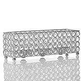 VINCIGANT Silber Rechteck Kristall Kerzenständer für Haus Dekoration Urlaub Feier Kerze Geburtstag Geschenk
