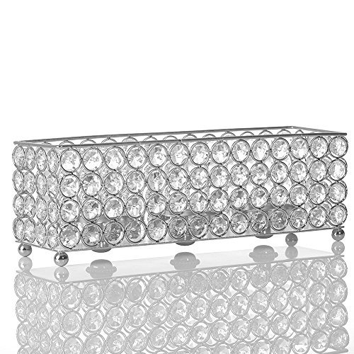 VINCIGANT Silver Crystal Candle Holder, Decorative / Candle Cover for Centerpieces for Dining Room Decoration