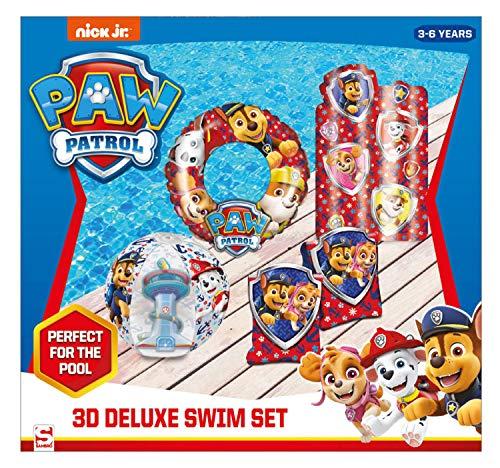 Sambro PWP15-3447 - Set mit Schwimmring (ca. 50 cm), Wasserball (ca. 40 cm), Schwimmflügel und Luftmatratze (ca. 67,5 x 73 cm), Paw Patrol, 3 bis 6 Jahre, mit Sicherheitsventil, ideal für Pool
