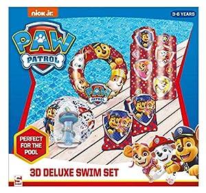Sambro PWP15-3447 - Set con flotador de 50 cm, bola de agua de 40 cm, flotador y colchón de aire (aprox. 67,5 x 73 cm), Patrulla Canina, 3 a 6 años, con válvula de seguridad, ideal para piscina, playa y piscina, multicolor