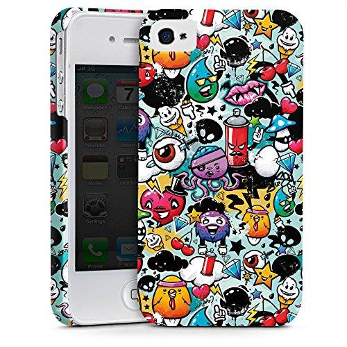 Apple iPhone X Silikon Hülle Case Schutzhülle Graffiti Bunt Sticker Style Monster Premium Case glänzend