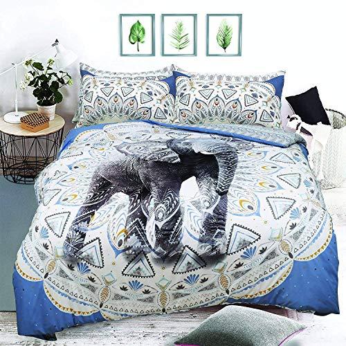eirene threadz Ellephant & Cat & Unicorn Printed Polycotton Duvet Cover Sets with Pillow Cases Bedding Sets (Single, Aztec Elephant Blue)