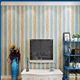 Mediterraner gestreift 3D Wallpaper, nostalgisches Holz Schlafzimmer Wohnzimmer TV Hintergrund Wand Kinder Zimmer Buchhandlung Vliestapete, 10m * 0.53M, blau gelb, weiß gelb, blau, begei