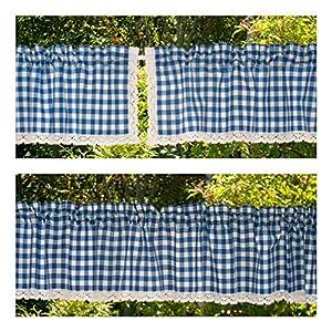 blau-weiß karierte Kurzgardine mit Klöppelspitze ein-oder zweiteilig