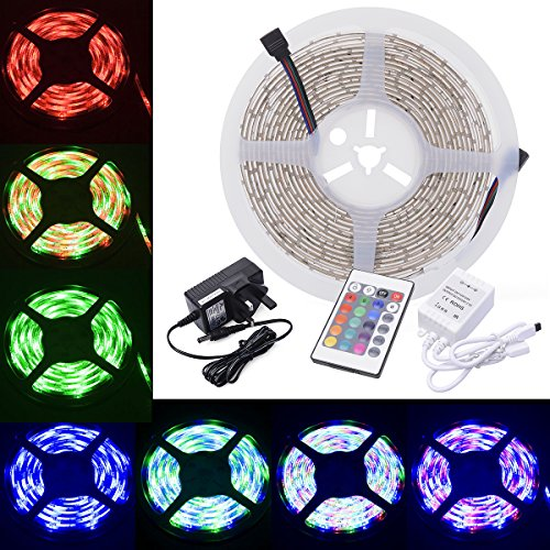 Ac Power Remote Adapter (XCSOURCE? Waterproof 5 Meter RGB Color Changing Mode 3528 Flexible LED Strip Kit 60 LEDs/m with IR Remote 24 Key Controller AC Power Supply Adapter UK Plug for Home Lighting Decoration Lights LD112K (3528))