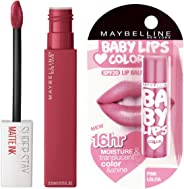 Maybelline New York Super Stay Matte Ink Liquid Lipstick, Ruler, 5ml + Maybelline Baby Lips, Pink Lolita, 4g