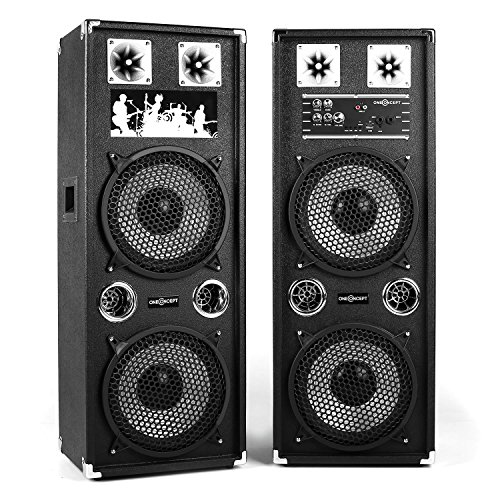 oneConcept BSX-210A • aktives Lautsprechersystem • PA Lautsprecher Paar • 2-Wege Lautsprecher-System • 160 Watt Peak-Leistung • MP3-fähiger USB-Port / SD-Slot • je 2 x 10'' (25 cm)-Subwoofer • Power LED • Echo-Effekt • Bassreflexgehäuse • Tragegriffe • schwarz (Slot Wandhalterungen)