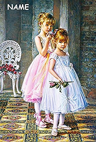 Puzzle 1000 Teile - kleine Ballerinas / Tänzerinnen - incl. Name - Zeichnung - Gemälde - romantisches Motiv - Prima Ballerina Tanz / Ballett - Balletttänzer - Klassik - Mädchen mit Rose - Tanzschule