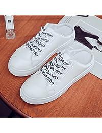 Patear el perezoso Baotou zapatillas, tomar la versión coreana de los zapatos de mujer, sin talón plano medio drag,36 blanco