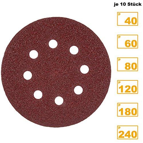 PRETEX 60 Klett-Schleifscheiben für Exzenter-Schleifer 8 Loch, Ø 125 mm ( je 10 Stück mit den Körnungen 40 / 60 / 80 / 120 / 180 / 240) | 2 Jahre Zufriedenheitsgarantie | Schleifpapier , Schleifblätter