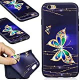 iPhone 6 Case, iPhone 6S Silicone TPU Transparent Cover, COZY HUT Premium Ultra Slim Thin Silicone Flexible Quality TPU Soft Pattern Design Cute Black Cover, Gel Plastic Protective Shock Absorption Proof Drop Defend Anti Scratch Shell for iPhone 6 6S - Golden butterfly