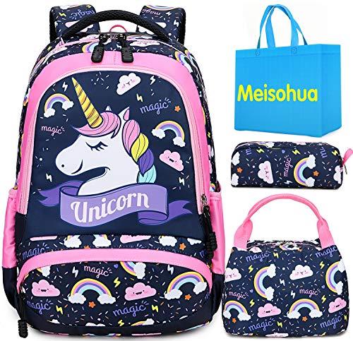 Unicorno zaino scuola elementare impermeabile zaini bambino sacchetti di scuola per ragazze leggero campeggio borse casual daypacks per adolescenti studenti 3 pezzi (rosa)