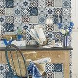 Blooming Wand 63113Werkzeug zum Lösen Vintage Mosaik Fliesen Tapete Wand Mural für Bad Küche Wohnzimmer, groß, 57quadratisch FT/Rolle