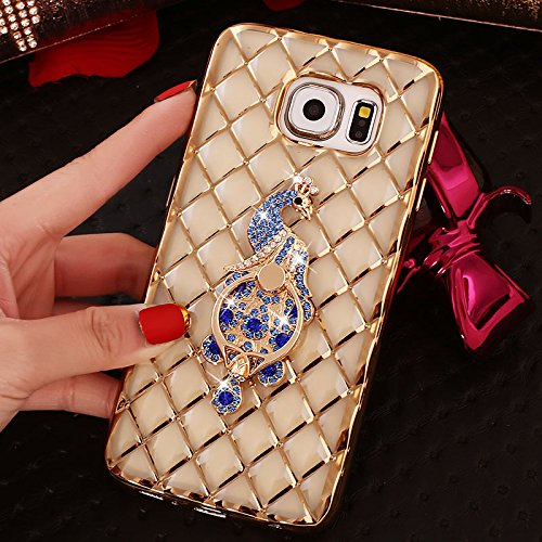 Price comparison product image For Samsung Galaxy S7 Edge Case,  iNenk Rhinestone Diamond Lattice Case Gold Plating Ring Stand Holder Silicone Cover Navy Blue Peacock