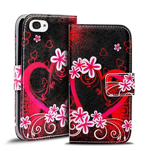 Gemusterte Hülle für Apple iPhone 4S 4 Klapphülle Tasche – Wallet Case mit verrücktem Paisley Motiv Design mit Kartenfach und Aufstellfunktion Motiv 10