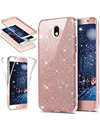 Galaxy J3 2017 Case,ikasus [Full-Body 360 Coverage Protective] Crystal Clear 2in1 Sparkly Shiny Glitter Bling Front Back Full Coverage Soft Clear TPU Silicone Rubber Case for Samsung Galaxy J3 (2017) SM-J330F,Rose Gold
