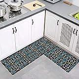 2 Stück Küchenteppiche Waschbar Teppich Küchenmatte Pattern Teppichläufer Rutschfeste Fußmatte Ölbeweismatte Matte für Esszimmer Schlafzimmer 50 x 80 cm + 50 x 120 cm,Bunt