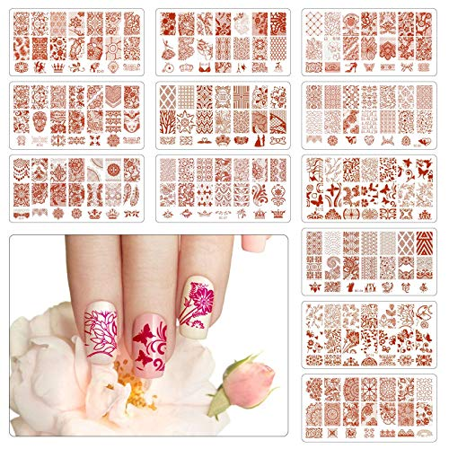 TAZEMAT 12 Nail Art Plates Stamping Nagel maniküre Stempelschablonen mit 1 Stempel und 1 Schaber Nagel Bildstempel Schablone für Frau Mädchen